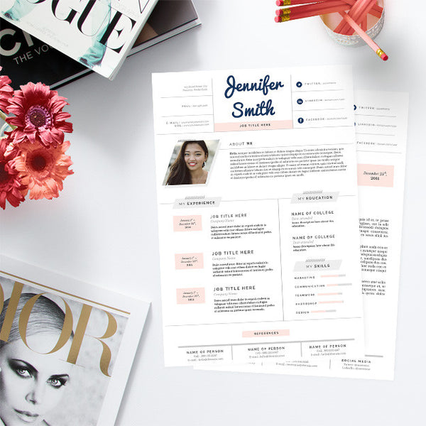 Feminine Pastel Resume & Cover Letter Template Package