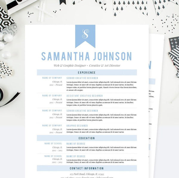 Baby Blue Web Designer CV Resume, Cover Letter & References Template Package