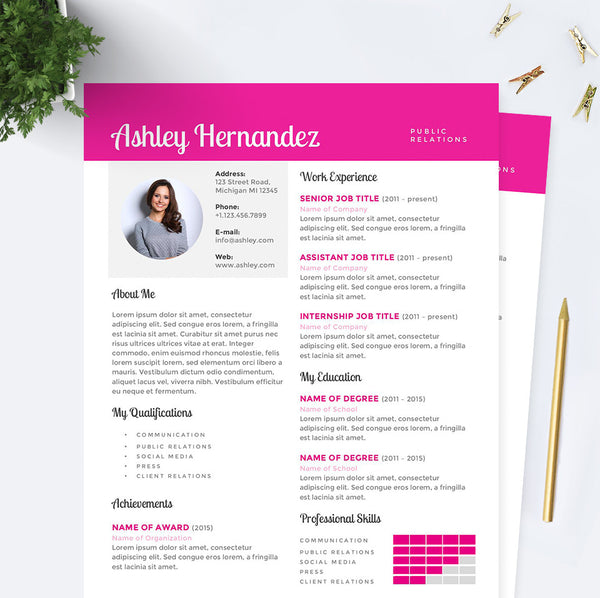 Bright Pink Public Relations Resume, Cover Letter & References Template Package