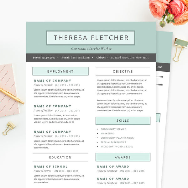 Chic Resume, Cover Letter & References Template Package