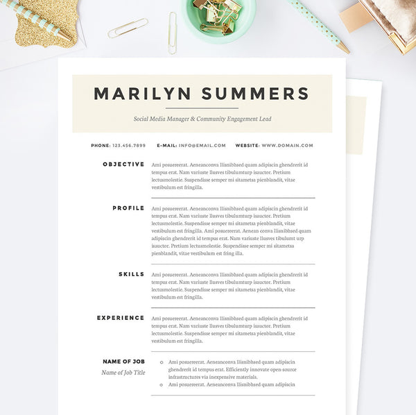 Cv Resume Template Classic Social Media Manager