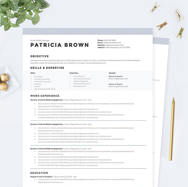 Clean Resume, Cover Letter & References Template Package