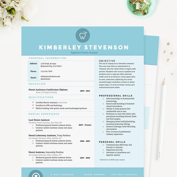 Crisp Blue Dental Resume, Cover Letter & References Template Package