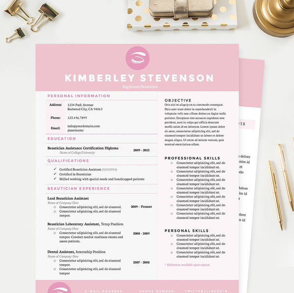 Makeup Artist Resume Cover Letter Reference Template Package - Makeup-artist-resume