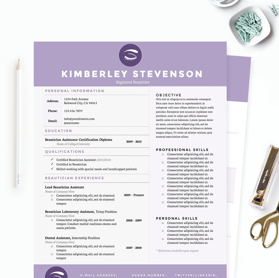 Purple Beautician Resume Cover Letter References Template