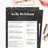 Sparkling Gold Resume, Cover Letter & References Template Package
