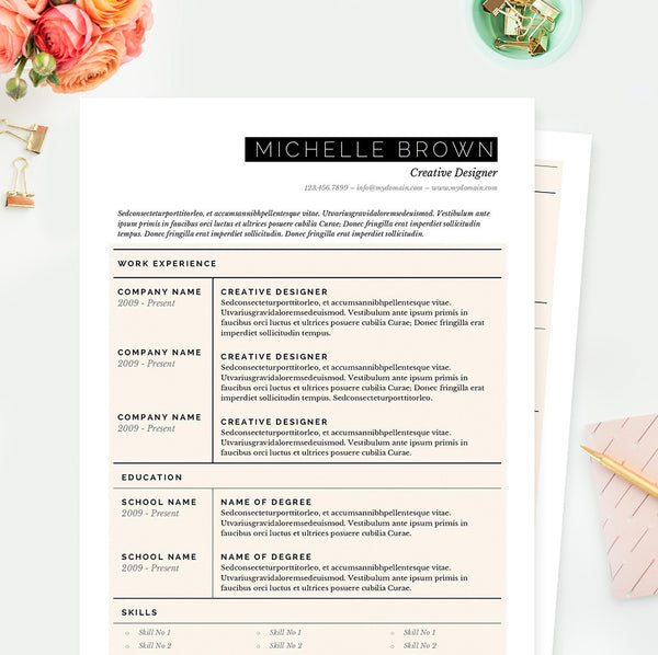 Grid Resume, Cover Letter & References Template Package