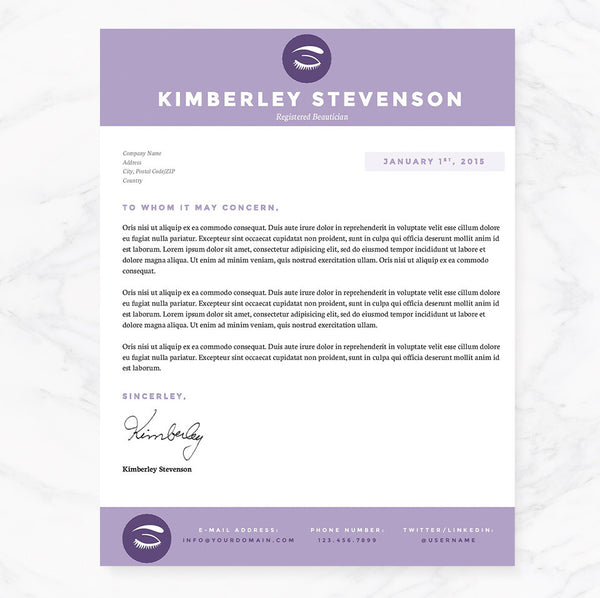 New Esthetician Resumes: Purple Beautician Resume, Cover Letter & References