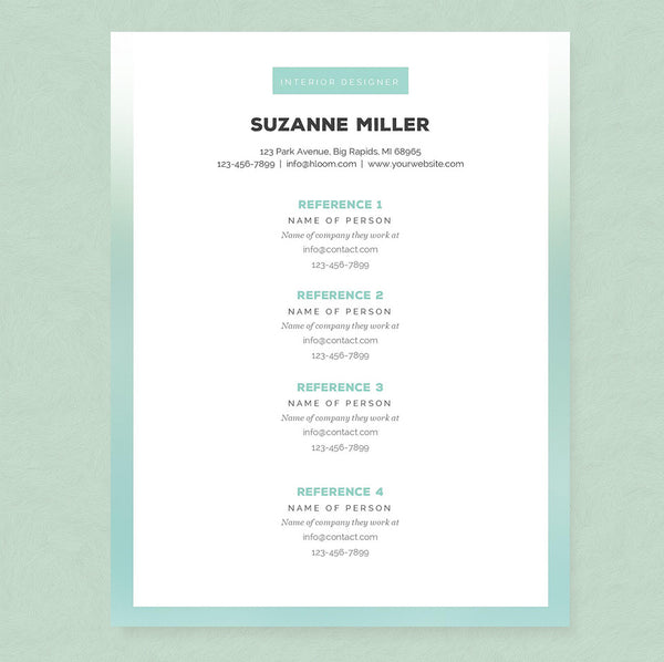Ombre Resume, Cover Letter & References Template Package – Janna Hagan