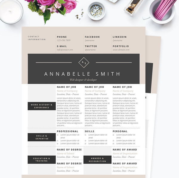 modern elegance resume cover letter references template package