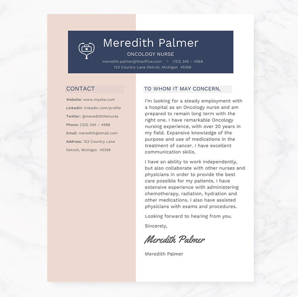 Oncology Nurse Modern Resume Cover Letter References Template