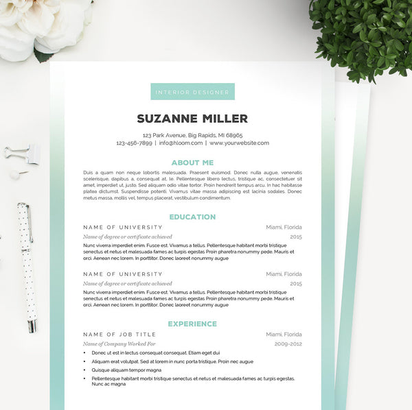 Ombre Resume, Cover Letter & References Template Package