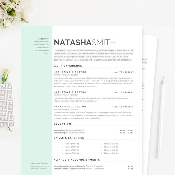 clean resume cover letter references template package