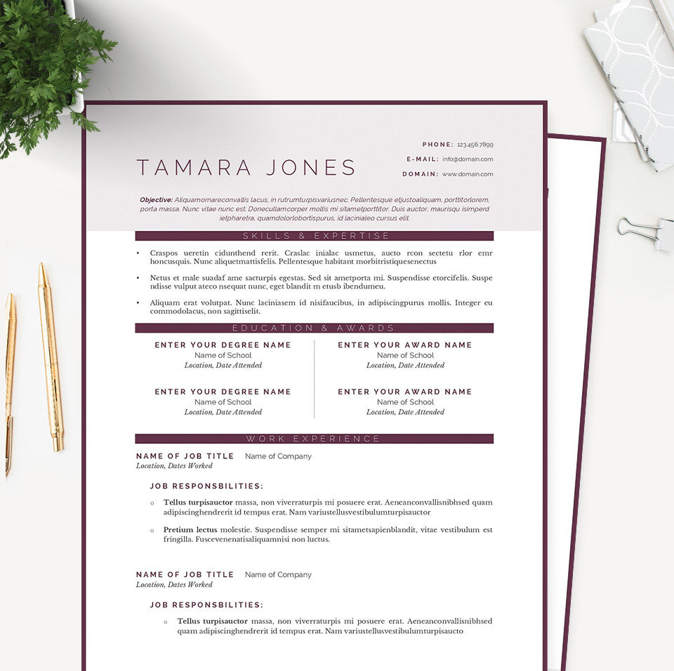 plum resume cover letter references template package janna hagan