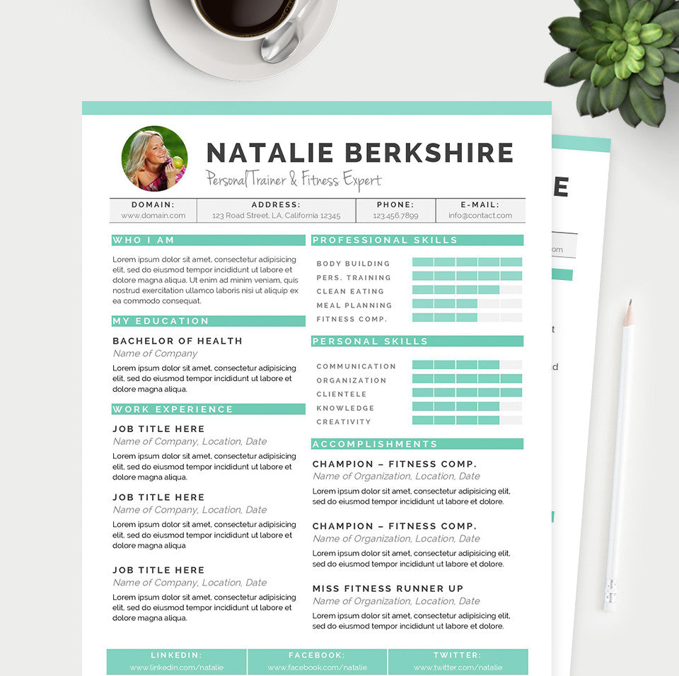 Turquoise Resume Cover Letter References Template Package – Microsoft Word References Template
