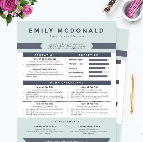 Sea Blue Resume, Cover Letter & References Template Package