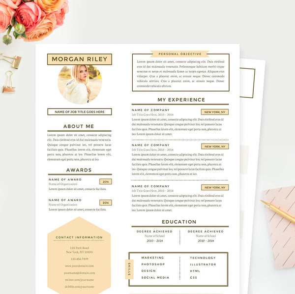 Pretty Sunrise Resume, Cover Letter & References Template Package