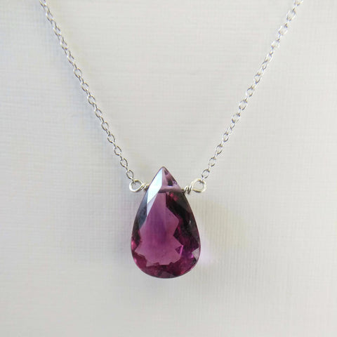 3.85 ct Purple Tourmaline and Sterling Silver Chain