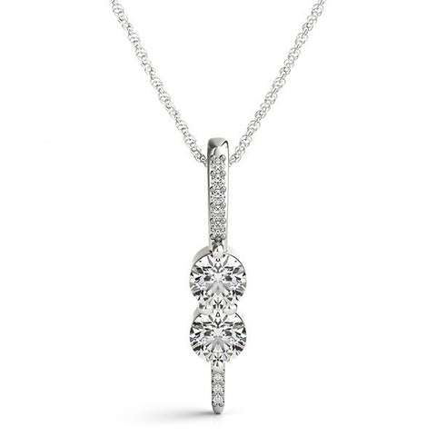 Two Stone Diamond Row Pendant