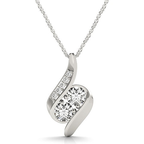 Two Stone Diamond Slide Pendant
