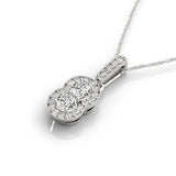 Two Stone Diamond Double Halo Pendant