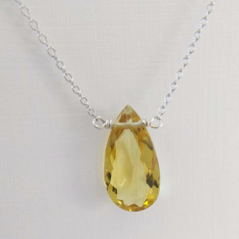 3.35ct Golden Beryl with Sterling Silver Necklace