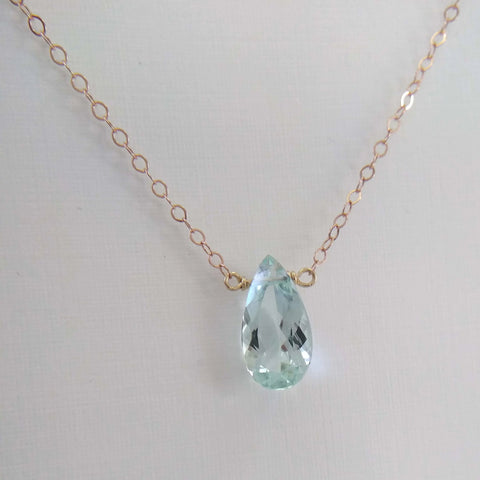 2.5ct Aquamarine and Rose Gold Necklace