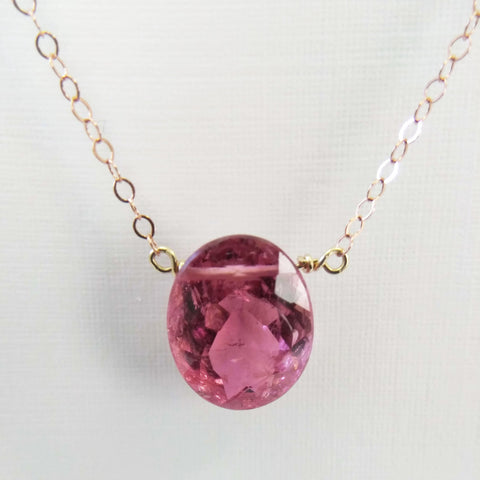 6.37 ct Pink Tourmaline and Rose Gold Necklace