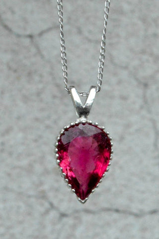 Rubellite Tourmaline Vintage Style Pendant & Chain - One of a Kind!