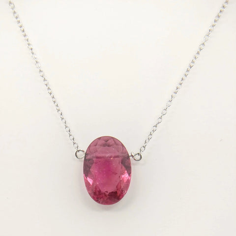 4.59ct Pink Tourmaline and Sterling Silver Necklace