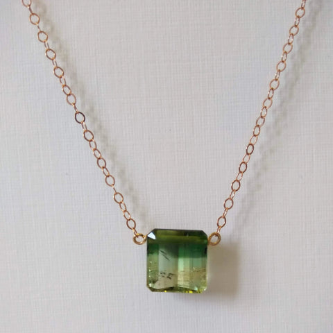 4.71ct Green Tri-colored Tourmaline Necklace