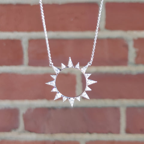 Resplendent Sunburst Pendant with Diamond Rays
