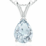 14K White Gold Pear Pendant with a Gemstone of your Choice!