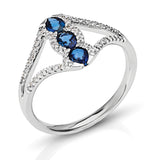 Blue Sapphire & Diamond Fashion Ring