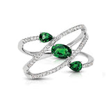 Diamond & Emerald Three Stone Spiral Ring