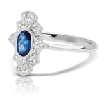 Diamond Scalloped Vintage Ring with Blue Sapphire