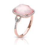 Rose Quartz & Diamond Ring