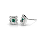 Vintage Diamond & Emerald Square Earrings