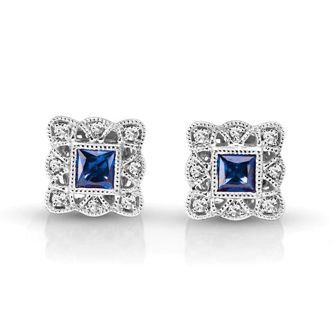 Vintage Diamond & Sapphire Square Earrings