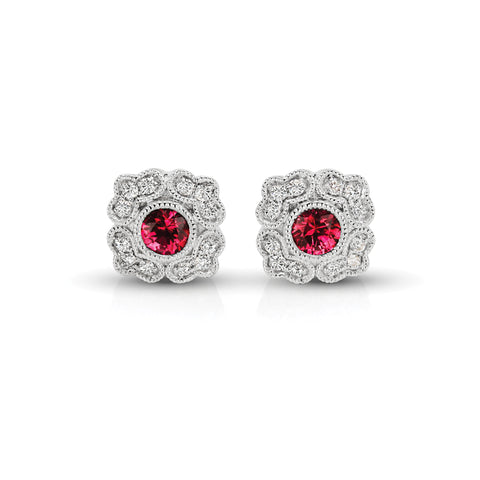 Vintage Diamond & Ruby Floral Earrings
