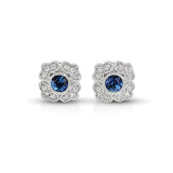 Vintage Diamond & Sapphire Floral Earrings