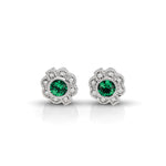 Vintage Diamond & Emerald Round Earrings