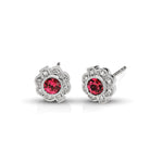 Vintage Diamond & Ruby Round Earrings in 14kt White Gold