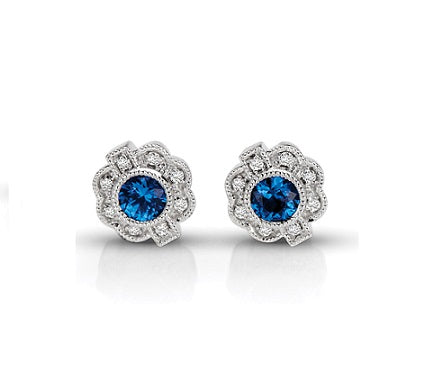 Vintage Diamond & Sapphire Round Earrings