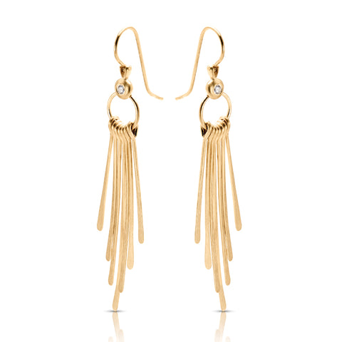 Diamond and Yellow Gold Hanging Rods Earrings
