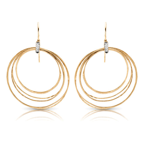 Concentric Circle Drop Earrings with Diamonds