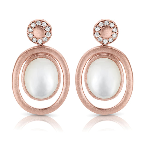 Rose Pearl & Diamond Earrings in 14k Rose Gold