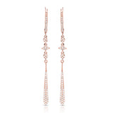 Elongated Rose Gold and Diamond Earrings