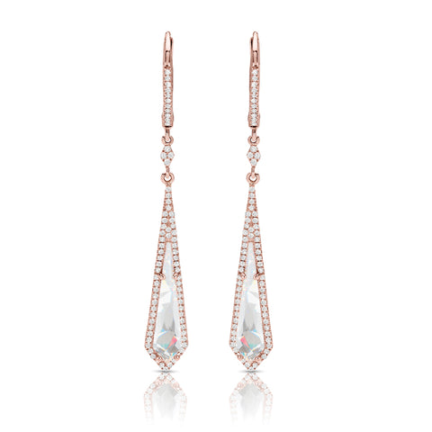 Rose Topaz and Diamond Fashion Earrings