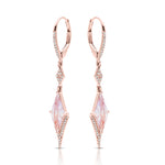 Diamond and Pink Amethyst Dangle Earrings